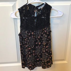 Wallflower Tops - Black Lace Floral Tank